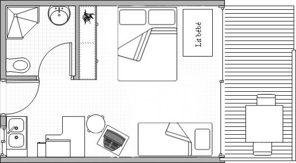 La chambre kitchenette