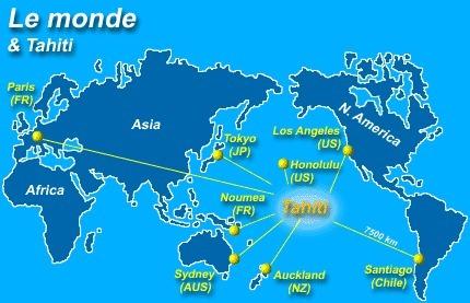 Le monde et Tahiti : décalage horaire