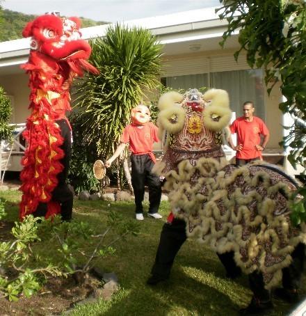 La danse du lion lors du nouvel an chinois du dragon d'eau